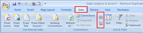 Sort Location Excel 2007 Ribbon Menu