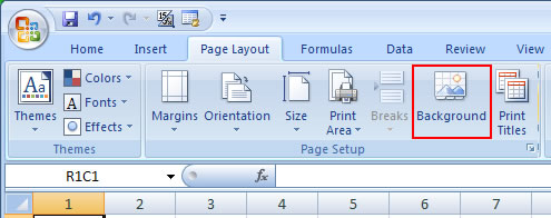 Add Background Image in Excel 2007