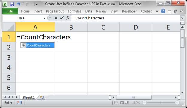 creating custom functions in excel 2010