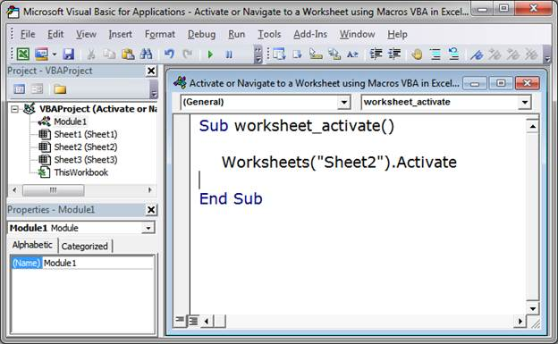 Worksheets Activate Worksheet Vba activate or navigate to a worksheet using macros vba in excel by name