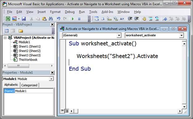 Worksheets Activate Worksheet Vba activate or navigate to a worksheet using macros vba in excel by name