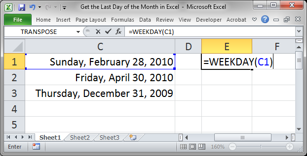 how to return current day in excel