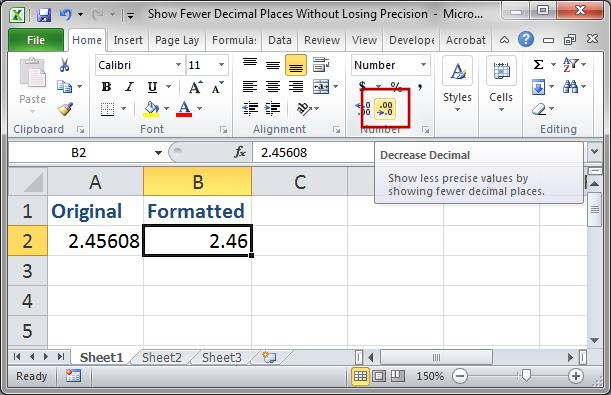 how to set excel to 2 decimal places
