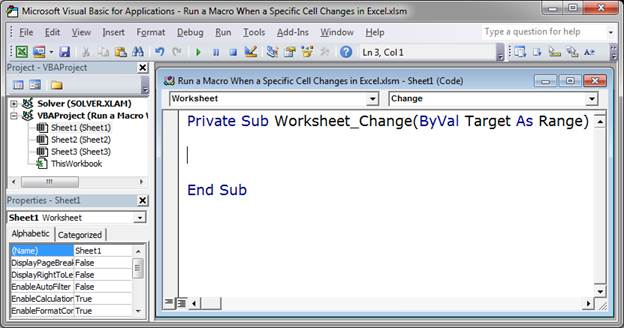 Run A Macro When Specific Cell Changes In Excel Teachexcel. In The Window That Opens Select Worksheet From Left Dropdown Menu And Change Right You Should Now See This. Worksheet. Worksheet Before Selection Change At Mspartners.co