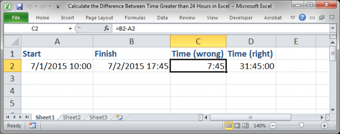 how to make excel add more than 24 hours