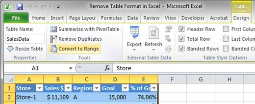 Remove Table Format in Excel - TeachExcel.com