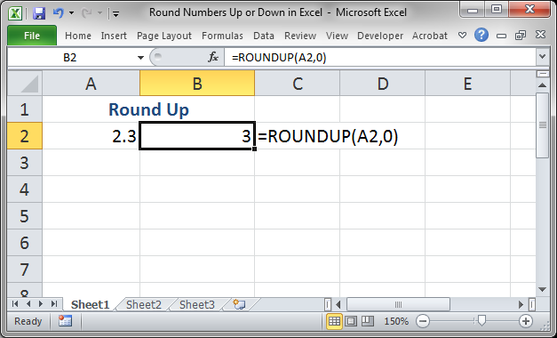 rounding up in excel