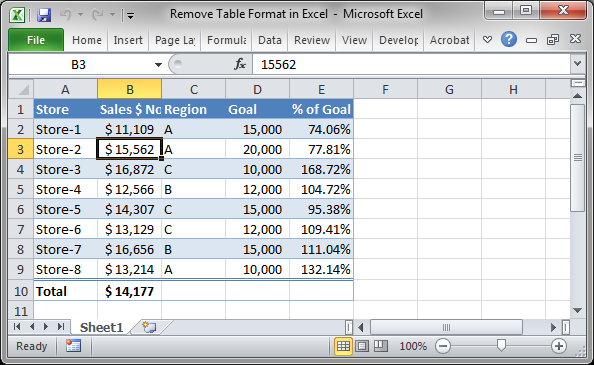 Remove table format in excel for Table design tab excel
