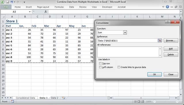 Combine multiple worksheets in excel 2007