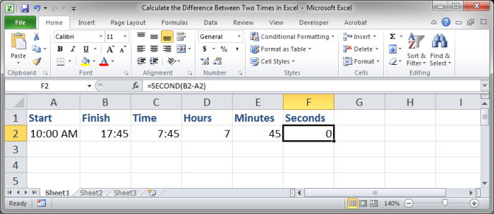 Calculate the Difference Between Two Times in Excel