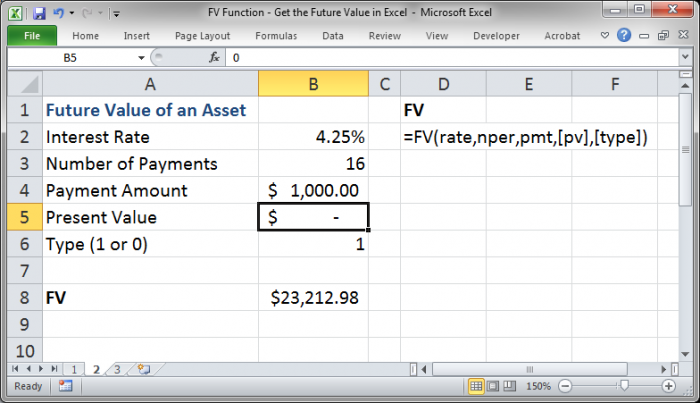 Fv function get the future value in excel for Future value excel template