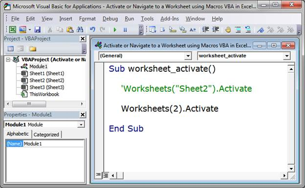 Activate or Navigate to a Worksheet using Macros VBA in Excel ...