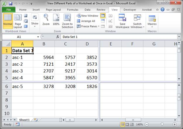 View Different Parts of a Worksheet at Once in Excel ...