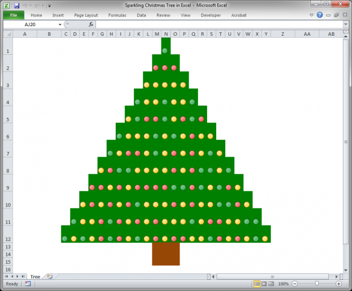 sparkling christmas tree in excel