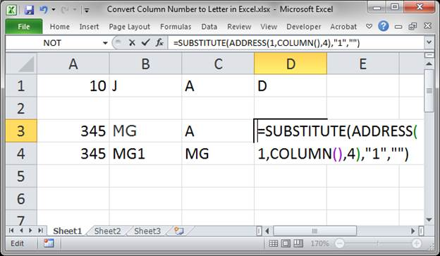 Convert Column Number To Letter Using A Formula In Excel