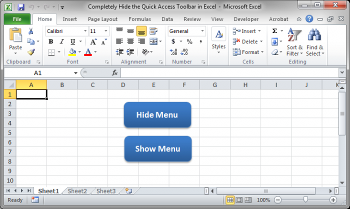 Completely Hide the Quick Access Toolbar in Excel - TeachExcel.com