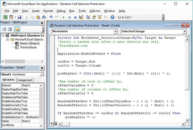 Excel Prank - Random Cell Selection - TeachExcel com