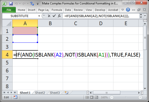make complex formulas for conditional formatting in excel