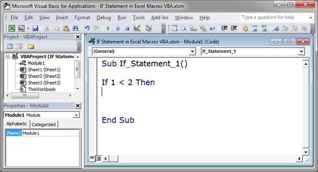 Write an if then statement in excel