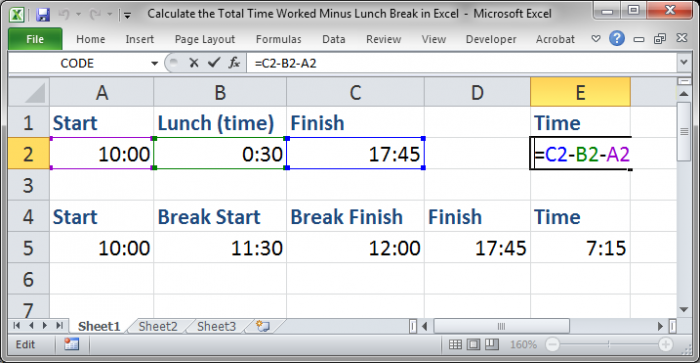 Calculate the Total Time Worked Minus Lunch Breaks in Excel