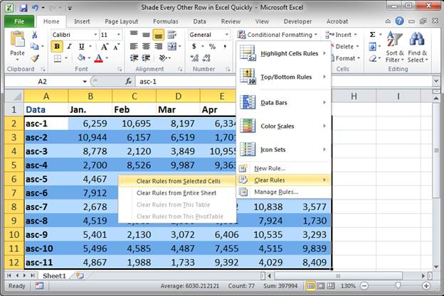 how to shade every other row in excel