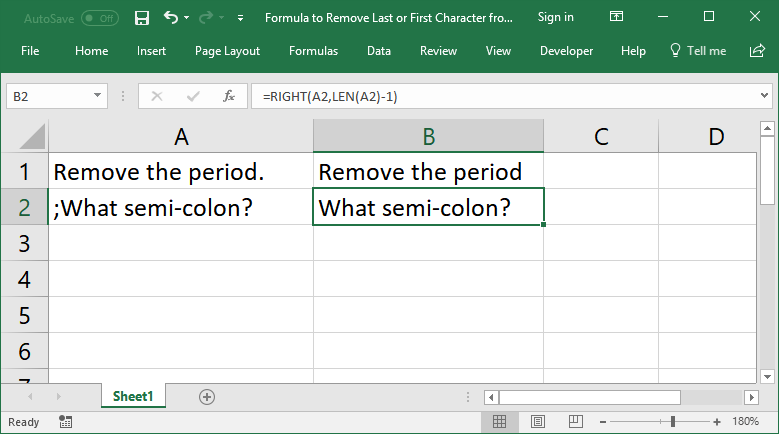 Formulas to Remove First or Last Character from a Cell in Excel -  TeachExcel.com