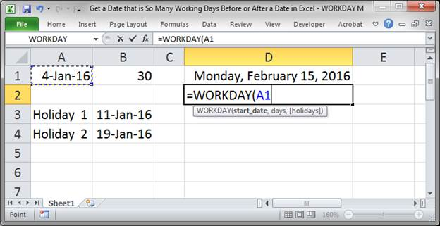 how to add days in excel formula