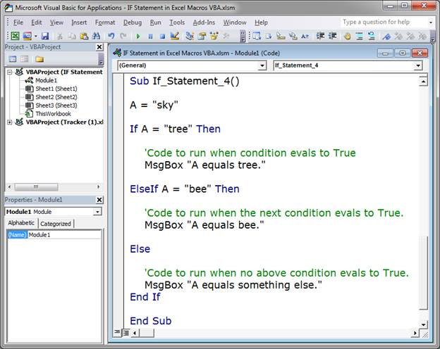 how to write an if statement in excel vba