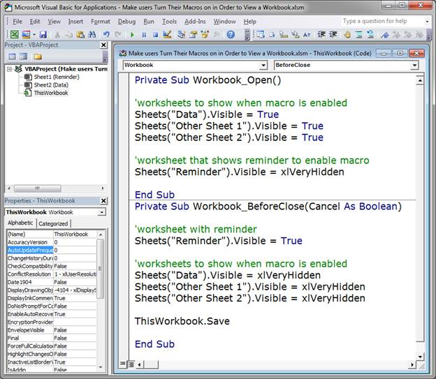 Make users enable macros in order to view a workbook in excel 8c86cb60c1a22e533aaed2c388a13de5g ibookread ePUb