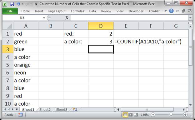 Excell Count Number Of Cells That Contain A Letter