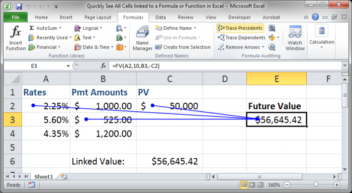 Quickly See All Cells linked to a Formula or Function in Excel -  TeachExcel.com