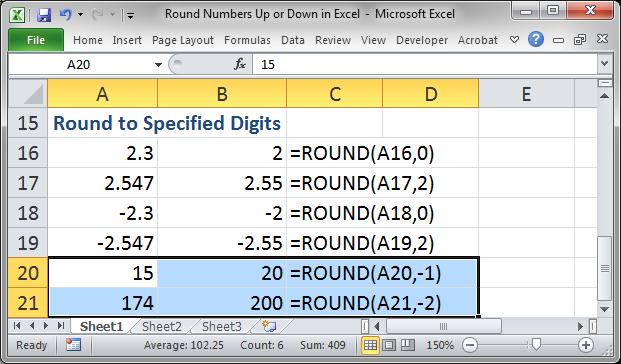 round numbers up or down in excel