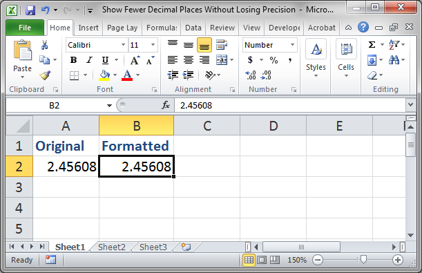 how to show decimal places in excel 2007
