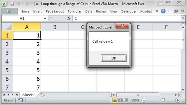 Loop through a Range of Cells in Excel VBA/Macros
