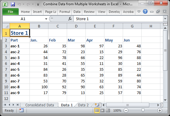 math worksheet : combine data from multiple worksheets in excel  teachexcel  : Consolidate Data In Multiple Worksheets