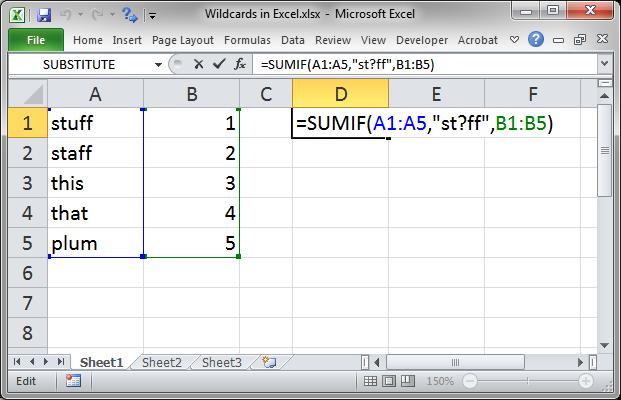 Wildcards in Excel