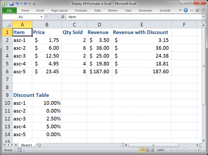 Display all Formulas at Once in Excel - TeachExcel.com