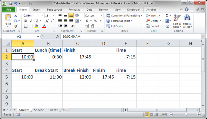 how to calculate time in excel sheet