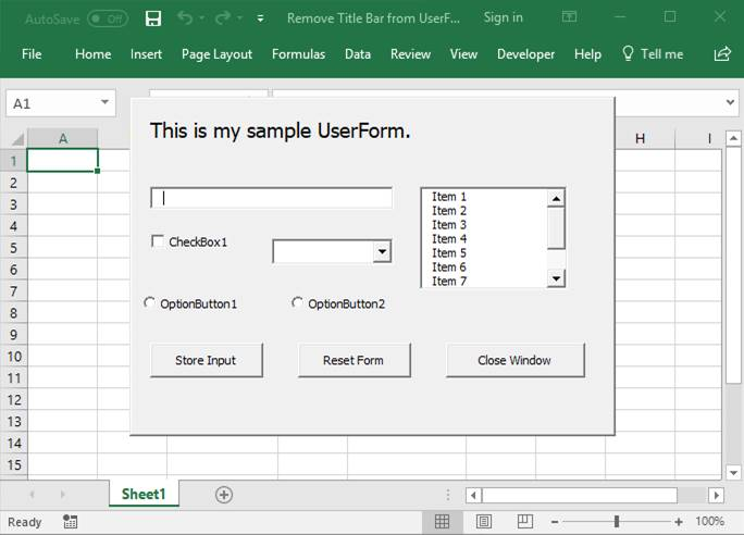 Remove the Title Bar from a UserForm - TeachExcel com