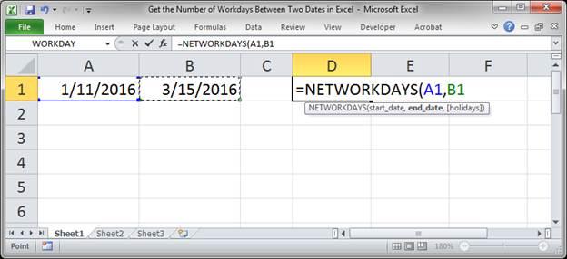 Count days between dates excel