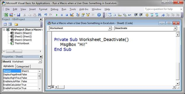 Run a Macro when a User Does Something in the Worksheet in Excel ...