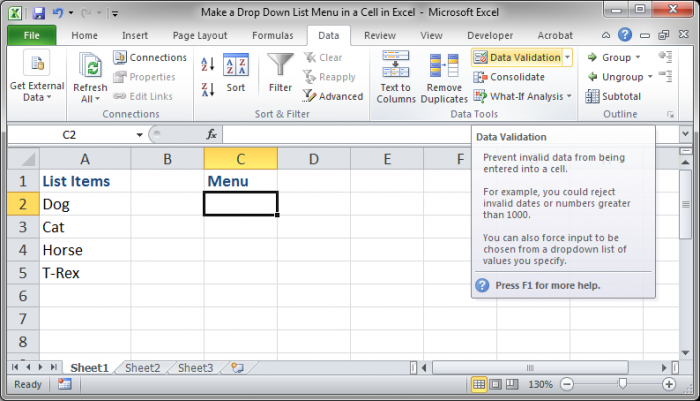 how to create a drop down menu in excel cell