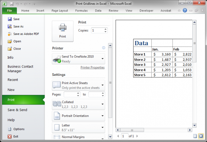 how to use excel print