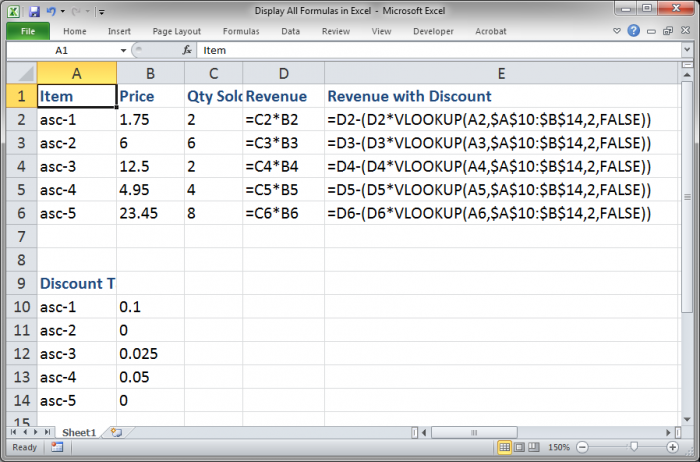 Display All Formulas At Once In Excel Teachexcel