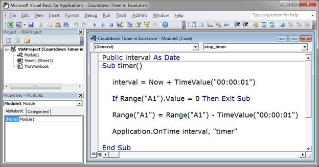 application.ontime cannot run the macro