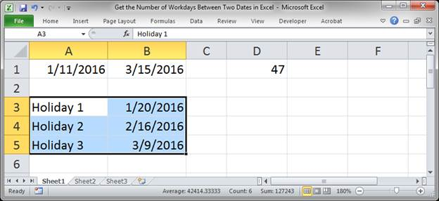 Find Working Days In Excel - how excel counts business days